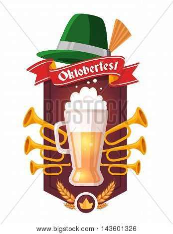 Vector Colorful Illustration Of Big Mug Of Yellow Beer With Ears Wheat, Trumpets, Green Hat, Red Rib