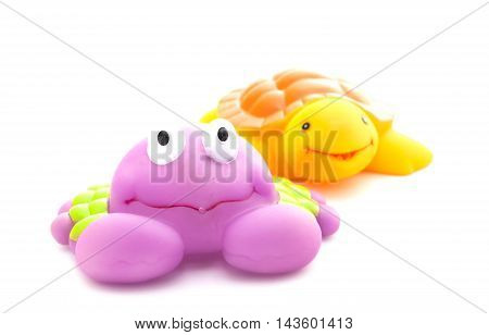 Bath Toys Crab And Turtle On White Background