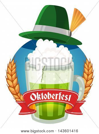 Vector Colorful Illustration Of Big Mug Of Green Beer With Hat, Yellow Ears Wheat, Red Ribbon And Te