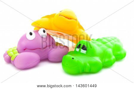 Bath Toys Crab, Crocodile And Turtle On White Background