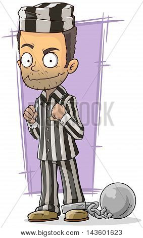 A vector illustration of cartoon prisoner in robe with metal chain