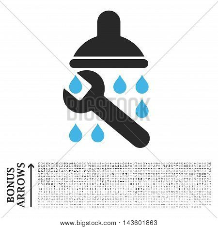 Shower Plumbing icon with 1200 bonus arrow and direction pictograms. Vector illustration style is flat iconic bicolor symbols, blue and gray colors, white background.