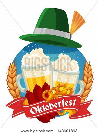 Vector Colorful Illustration Of Two Big Mugs Of Yellow Beer With Green Hat, Sausage, Pretzel, Ears W