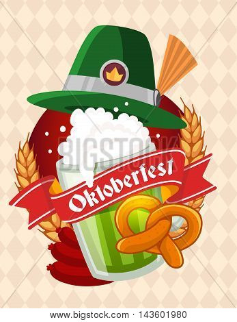 Vector Colorful Illustration Of Big Mug Of Green Beer With Hat, Yellow Pretzel, Sausage, Ears Wheat,