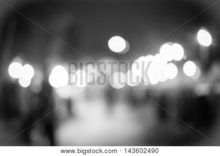 Blur Background :outdoor Night Market Fair With Bokeh Light, Black And White Filter