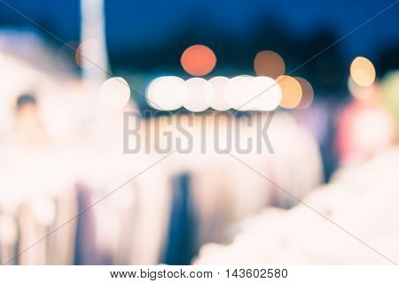 Blur Background :outdoor Night Market Fair With Bokeh Light
