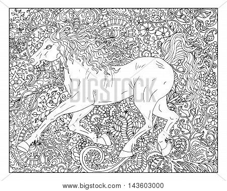 Hand drawn horse against zen floral pattern background for adult coloring book. Chinese new year astrological sign, horoscope and zodiac vector symbol, graphic illustration, vintage engraved style