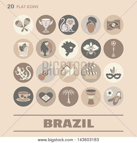 Flat icons Brazil 8. EPS 10 Isolated objects