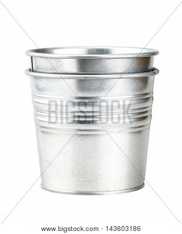 Sliver Bucket Isolated On White Background With Clipping Path