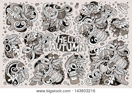 Line art vector hand drawn doodle cartoon set of Autumn theme items, objects and symbols