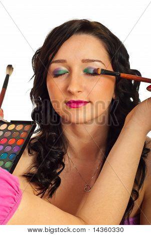 Model Getting Eyeshadow Make Up