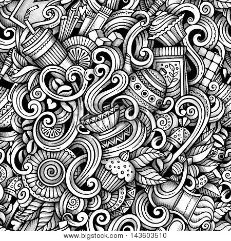 Cartoon hand-drawn doodles tea and coffee seamless pattern. Line art trace detailed, with lots of objects vector background