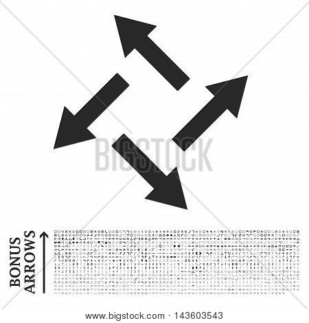 Centrifugal Arrows icon with 1200 bonus arrow and navigation pictograms. Vector illustration style is flat iconic symbols, gray color, white background.