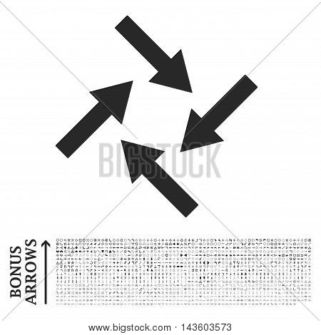Centripetal Arrows icon with 1200 bonus arrow and direction pictograms. Vector illustration style is flat iconic symbols, gray color, white background.