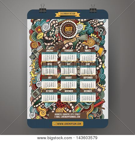 Cartoon colorful hand drawn doodles Cinema 2017 year calendar template. English, Sunday start. Very detailed, with lots of objects illustration. Funny vector artwork.