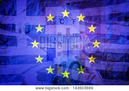 Euros, greek flag and EU flag - Finance concept