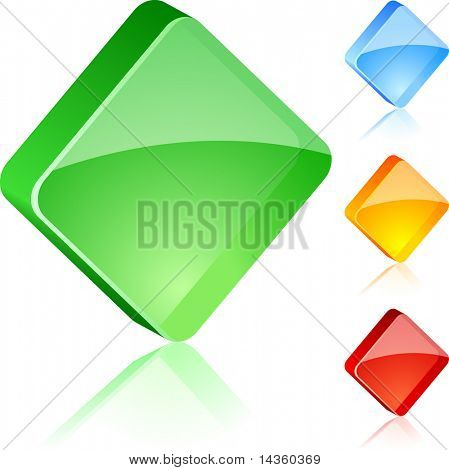 Empty glass buttons. Vector illustration.