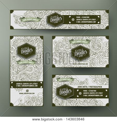 Cartoon cute line art vector hand drawn doodles curls, swirls corporate identity set. Templates design of banners, id cards, flayers.