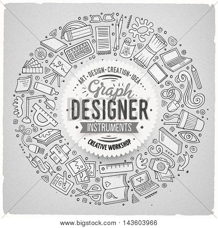 Line art vector hand drawn set of Design cartoon doodle objects, symbols and items. Round frame composition
