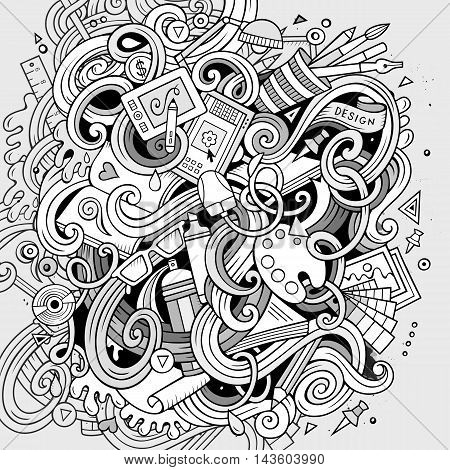 Cartoon cute doodles hand drawn Design illustration. Line art detailed, with lots of objects background. Funny vector artwork. Sketchy picture with Artistic theme