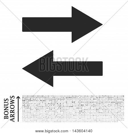 Horizontal Flip Arrows icon with 1200 bonus arrow and direction pictograms. Vector illustration style is flat iconic symbols, gray color, white background.
