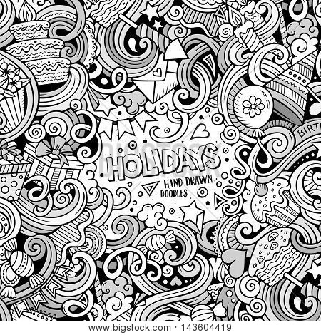 Cartoon cute doodles hand drawn Holidays frame design. Line art detailed, with lots of objects background. Funny vector illustration. Sketchy border with Birthday theme items
