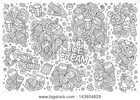 Line art vector hand drawn doodle cartoon set of ice-cream objects and symbols