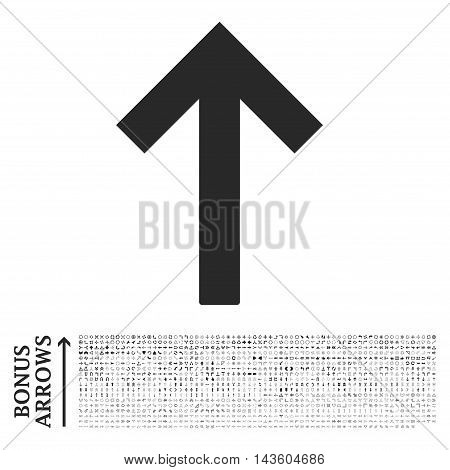 Up Arrow icon with 1200 bonus arrow and navigation pictograms. Vector illustration style is flat iconic symbols, gray color, white background.