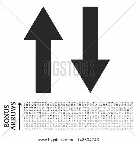 Vertical Flip Arrows icon with 1200 bonus arrow and direction pictograms. Vector illustration style is flat iconic symbols, gray color, white background.