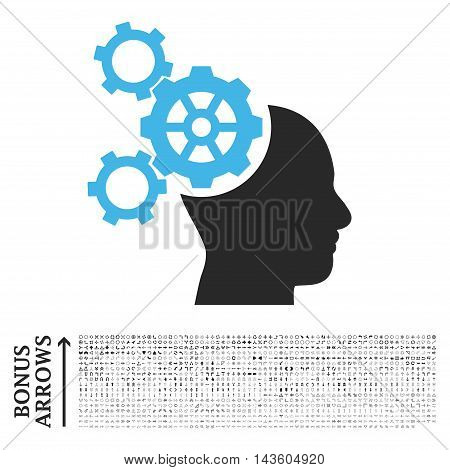 Brain Mechanics icon with 1200 bonus arrow and direction pictograms. Glyph illustration style is flat iconic bicolor symbols, blue and gray colors, white background.