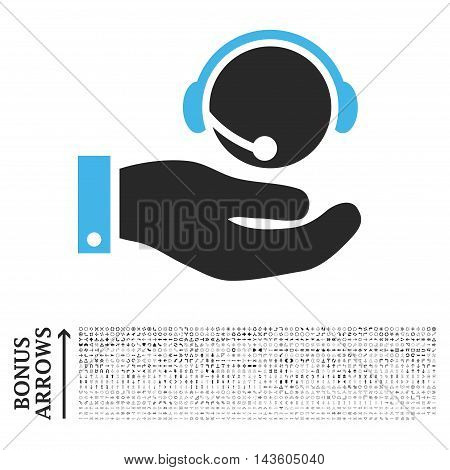 Call Center Service icon with 1200 bonus arrow and direction pictograms. Glyph illustration style is flat iconic bicolor symbols, blue and gray colors, white background.