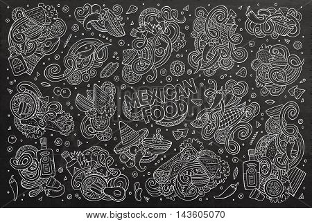 Line art chalkboard vector hand drawn doodle cartoon set of Mexican Food theme items, objects and symbols