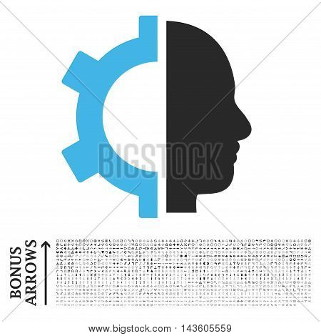 Cyborg Gear icon with 1200 bonus arrow and navigation pictograms. Glyph illustration style is flat iconic bicolor symbols, blue and gray colors, white background.