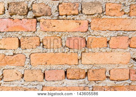 Outdoor brick wall and crack as background texture