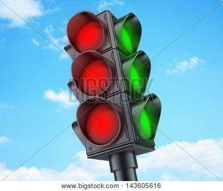 Abstract Traffic lights red (done in 3d rendering)