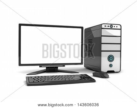 Computer view front empty screen (done in 3d rendering)