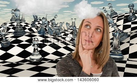 Chess board, woman is thinking.  3D Render