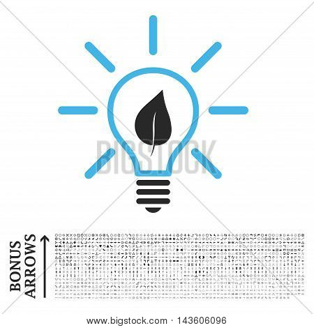 Eco Light Bulb icon with 1200 bonus arrow and direction pictograms. Glyph illustration style is flat iconic bicolor symbols, blue and gray colors, white background.