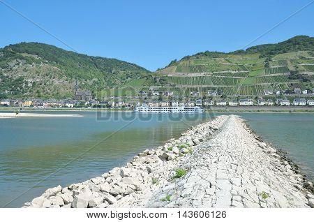 Wine Village of Lorschhausen at Rhine River in Rheingau,Hesse,Germany