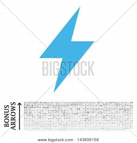 Electric Strike icon with 1200 bonus arrow and direction pictograms. Glyph illustration style is flat iconic bicolor symbols, blue and gray colors, white background.
