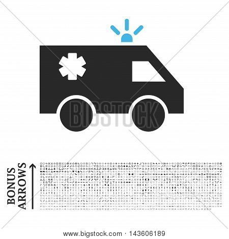 Emergency Car icon with 1200 bonus arrow and navigation pictograms. Glyph illustration style is flat iconic bicolor symbols, blue and gray colors, white background.