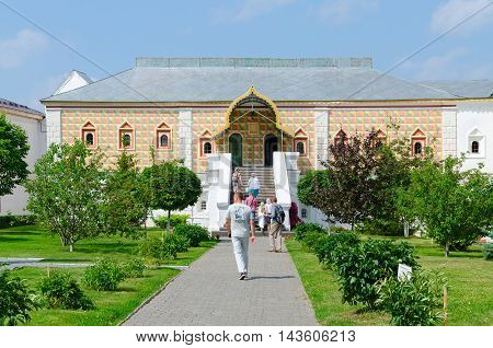 KOSTROMA RUSSIA - JULY 20 2016: Unidentified people visit House of Romanov Boyars in Holy Trinity Ipatyevsky male monastery Kostroma Golden Ring of Russia