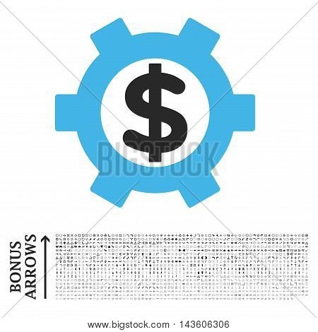 Financial Settings icon with 1200 bonus arrow and direction pictograms. Glyph illustration style is flat iconic bicolor symbols, blue and gray colors, white background.