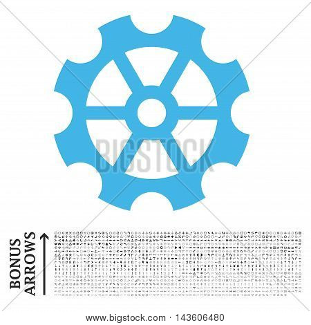 Gear icon with 1200 bonus arrow and direction pictograms. Glyph illustration style is flat iconic bicolor symbols, blue and gray colors, white background.