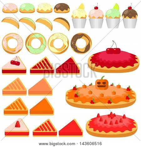 set of bakery products groceries pastries pies cakes donuts