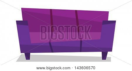 Purple modern sofa vector flat design illustration isolated on white background.