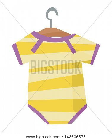 Yellow bodysuit for baby on a hanger vector flat design illustration isolated on white background.