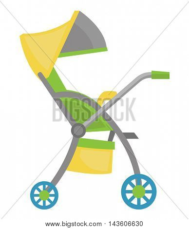 Small colourful baby stroller vector flat design illustration isolated on white background.