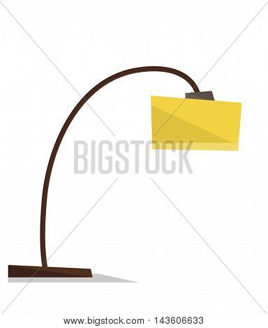 Yellow floor lamp vector flat design illustration isolated on white background.