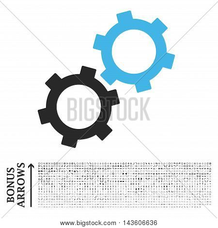 Gears icon with 1200 bonus arrow and direction pictograms. Glyph illustration style is flat iconic bicolor symbols, blue and gray colors, white background.